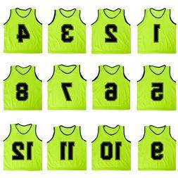 12x Lot Adult Numbered Mesh Scrimmage Vest Soccer Training J