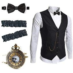 EFORLED Mens 1920s Accessories Gangster Vest Set - Pocket Wa