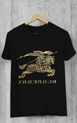 1Burberry Havana Gold TShirt Black Full SIze for Men's Cloth