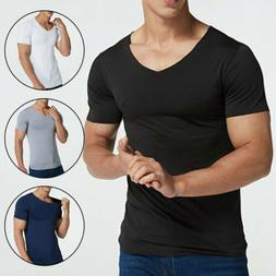 1PC Men's Clothes V Neck Tshirts Solid Color Ice Silk Tops T