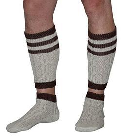 2 Piece Long Embroidered German Lederhosen Socks Cream/Brown