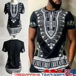 2019 African Tribal Shirt Men Dashiki Print Succinct Hippie