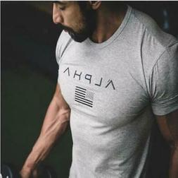 2019 Brand Clothing Gyms t-shirt ALPHA Fitness T-shirt Short