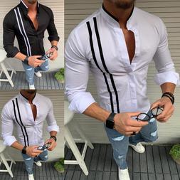 2019 <font><b>Men</b></font> Fashion Casual stripe Long Slee