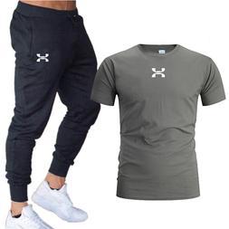 2019 new T Shirt+Pants Sets <font><b>Men</b></font> Letter P