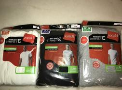 3 Pack Hanes Men's T Shirt Undershirt White Gray or Black S-