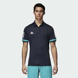 adidas 3 Stripes Club Polo Shirt Blue Teal Tee D74645 Men's