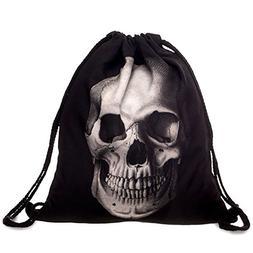 Ababalaya 3D Print Drawstring Backpack Rucksack Shoulder Bag