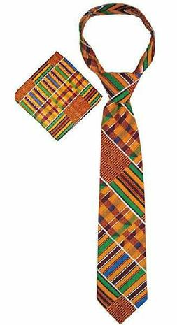 "African Kente cloth print cotton Men Necktie Neck Tie  ""Bran"