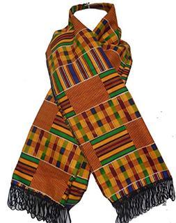 DecoraApparel African Men Kente Cloth Scarf Handmade Dashiki
