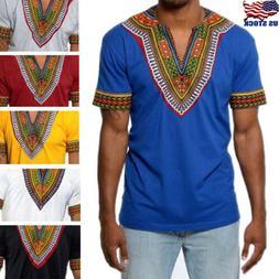 African Tribal Shirt Men Dashiki Print Succinct Hippie Top B