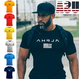 ALPHA Men Gym T-Shirt Muscle Sports Fitness Fit Tee Workout