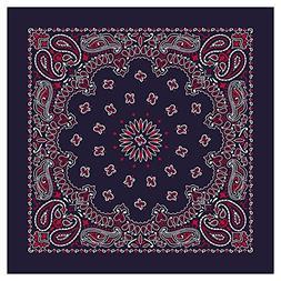 American Made Paisley Blue/Red Bandanas - Dozen Packed - 22x