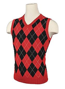 Men's Argyle Sweater Golf Vest - Black/Red/White Overstitch