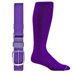 Joe's USA Baseball/Softball Belt & Sock Combo-Purple-Interme