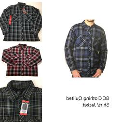 BC Clothing Men's Plaid Shirt Jacket With Quilted Lining Var