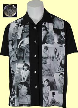 Steady Clothing - Bettie Page Collage Bowling/Retro Shirt. N