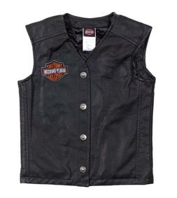 Harley-Davidson Big Boys' Bar & Shield PU Pleather Biker Vst