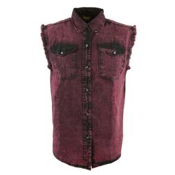 Biker Clothing Men's Magenta Sleeveless Shirt **MDM11677