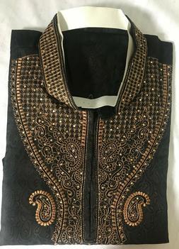 Black   Men Kurta Shirt Set 3 Pieces New Arrival Indian Wedd