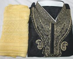 Black Silk Men Kurta Pajama Shawl Traditional Indian Clothin
