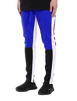 JD Apparel Men's Color Block Track Pants/Zip Bottom S Royal