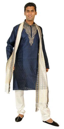 Blue  Men Kurta Designer Indian Wedding Formal Clothing W Fr