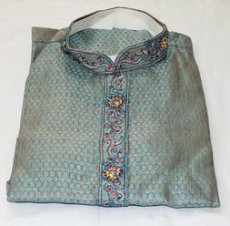 Blue Men Kurta Sherwani Shirt Set 3 Pieces  Wedding Clothing