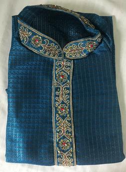 Blue Men Kurta Shirt Set 3 Pieces New Indian Wedding Clothin