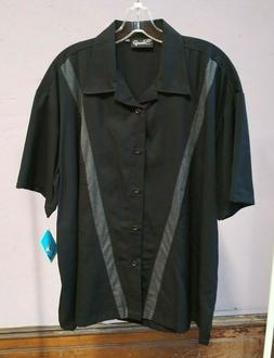 Steady Clothing brand Men's Black with Gray V Button Down Co