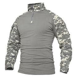 TACVASEN Mens Camouflage Camo Active Assault Long Sleeve T-S
