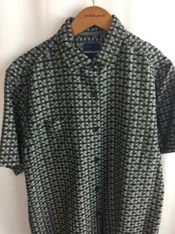 Tommy Bahama Camp Shirt Size Small 55% Silk Moroccan Squares