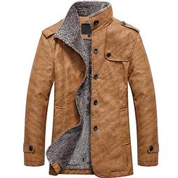 Hot Clearance! Daoroka Mens Thermal Leather Coat Jacket Slim