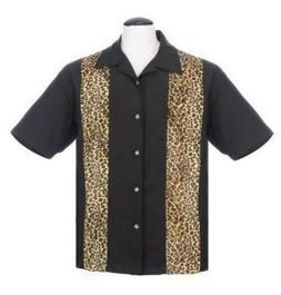 STEADY CLOTHING MEN'S BOWLING SHIRT FUZZY LEOPARD PANEL