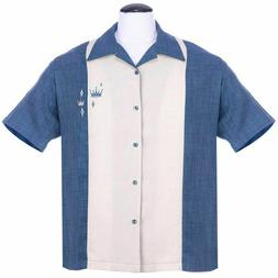 Steady Clothing Contrast Crown Rockabilly Blue Button Down B