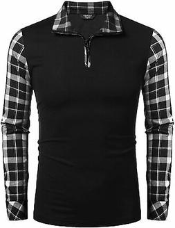 COOFANDY Men's Long Sleeve Polo Shirts Casual Slim Fit Zippe