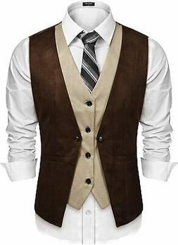 COOFANDY Men's Suede Leather Vest Layered Style Dress Vest W