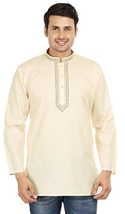 Cotton Dress Mens Short Kurta Shirt India Fashion Clothes