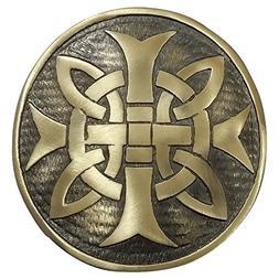 AAR Cross Round Men's Scottish Kilt Belt Buckle Chrome/Antiq