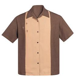 STEADY CLOTHING Crosshatch Button Up Bowling Shirt Coffee Ta