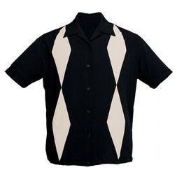 STEADY CLOTHING Diamond Duo Button Up Bowling Shirt Black S-