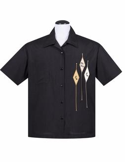 Steady Clothing  Diamond Music Note Black Men's Bowling Shir
