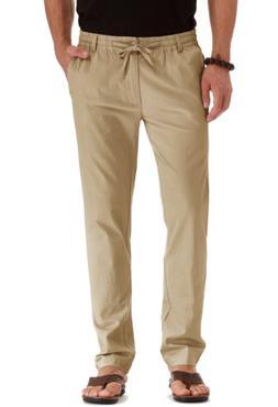 Mr.Zhang Men's Drawstring Casual Beach Trousers Linen Summer
