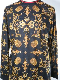 Drill Clothing Co. Mens Digital Print L/S T-Shirt, Black/Gol