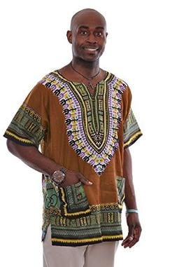 Dupsie's Bronze Traditional African Print Dashiki Shirt Smal