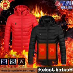 Electric USB Men Women Winter Heated Hooded Warm Coat Heatin