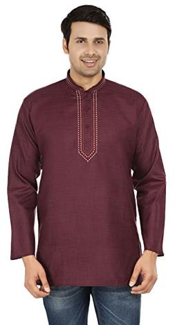 Embroidered Cotton Dress Mens Short Kurta Shirt India Fashio