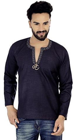 Maple Clothing Embroidered Cotton Men's Short Kurta Shirt In