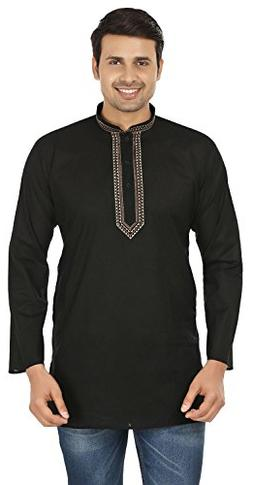 Embroidered Cotton Mens Short Kurta India Fashion Clothes