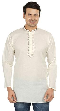 Maple Clothing Embroidered Cotton Mens Short Kurta Shirt Ind